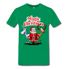 Santa and a unicorn T-shirt