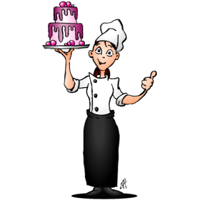 Pastry chef with a pink glazed cake fc