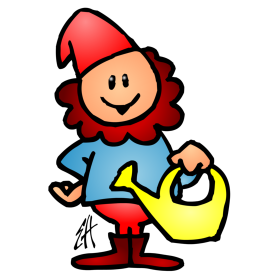 Garden gnome with a watering can fc