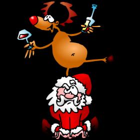 Reindeer is having a drink on Santa Claus fc