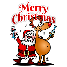 Merry Christmas! Santa Claus and his reindeer are having a drink fc